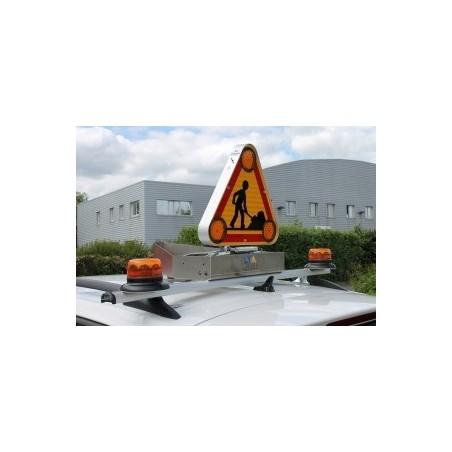 barre de signalisation ECLAIR - triangle à relevage manuel 500 - 2 gyroleds rotatif - AK5 Classe 2- 1,10m