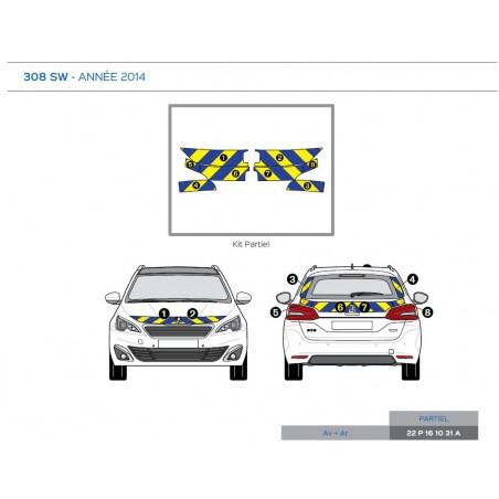 Balisage Jaune Fluo/Bleu - Avant + Arrière - Partiel Peugeot 308 SW