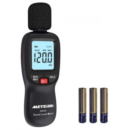 Sonomètre Decibelmetre Meterk 30-130dBA, Décibelmètre Professionnel 31.5-8KHz Alerte Rétro-éclairé, Piles Inclus.