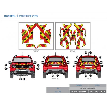 Dacia Duster à partir de 2018 - Rouge & Jaune - Avant + Arrière